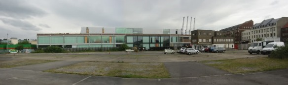 A photostitch showing the (at the time) empty car park
