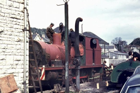 Henbury under restoration at Radstock in 1972 - note the striped bufferbeam typical of Avonmouth locos