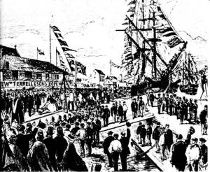 Mrs Hare, then Mayoress of Bristol, lays the first rail of the Bristol Harbour Tramway in connection with the construction of the Bristol & North Somerset Railway on 8th October 1863.