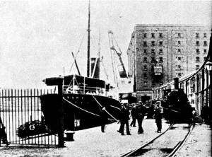 The grain sheds and granary at Prince's Wharf, City Docks, in the early 1900s.