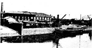 Midland Railway Depot, St. Philip's, circa 1904, showing the wealth of traffic on tap. The view also shows one of the Midland Railway barges that plied between St. Philip's and the City Docks.