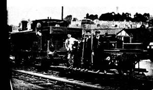 The late Mr W. A. Jupp, pictured with his shunting crew at Canon's Marsh on 25th July 1935. In the distance Brandon Hill and Cabot Tower can be seen. Paul Holley