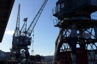 Twin crane action