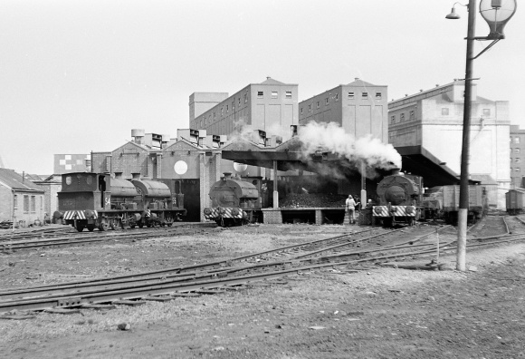 Port of Bristol Authority Avonmouth Shed, Avonsides S4, S5 and Pecketts S11 and another present, 21/7/63 - Railphotoprints.com