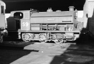 PBA S9 'Henbury' (now preserved) alongside the coaling stage at PBA's Avonmouth shed, 6/62