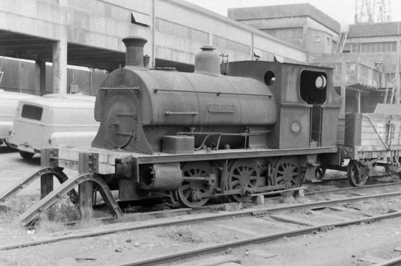 Peckett 'Edward' in store at Avonmouth 8/9/1956. Slide bars and connecting rods have been removed. (Courtesy Transport Treasury/Eric Sawford Collection)