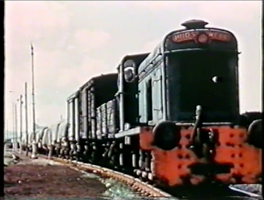 An unidentified Hudswell Clarke at Avonmouth, sporting the early green livery. Note the lack of side covers (screenshot from 'Bristol - Port of Many Trades', property of Bristol Museums)