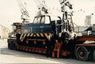 Some of the loading crew pose with PBA39 at Avonmouth in 1983.