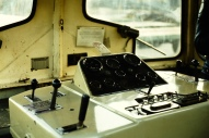 The controls of Rolls Royce Sentinel 10218 PBA 39. Pictured at Avonmouth in 1983, on the day that it was moved to the Dean Forest Railway.